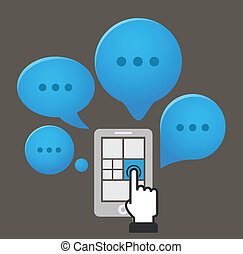 nuages, parole, smartphone, groupe, moderne