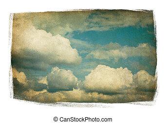 nuages, peint, vendange, pelucheux, ciel, isolé, white., cadre