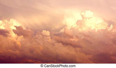 nuages, pourpre, après, ciel, orage, cumulonimbus
