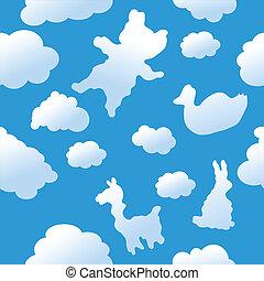 nuages, seamless, fond, animal