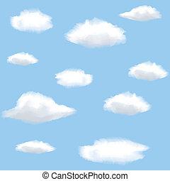 nuages, seamless, fond, sky.
