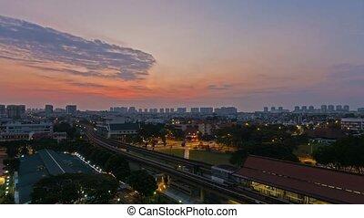 nuages, singapour, mrt, auto, sur, public, trafic, 4k, défaillance temps, levers de soleil