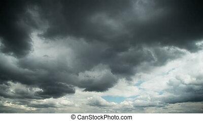 nuages, sky., défaillance, en mouvement, orage, temps