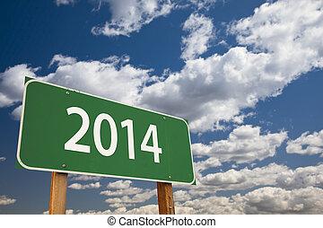 nuages, sur, signe, vert, 2014, route