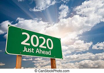 nuages, sur, signe, vert, 2020, route