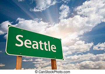 nuages, sur, signe, vert, seattle, route