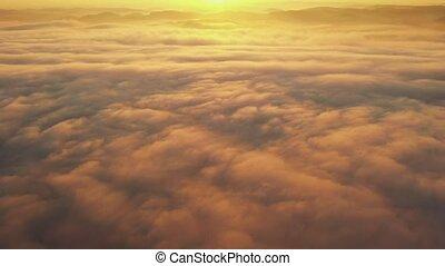 nuages, sur, voler, matin, tard, sun.