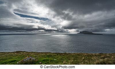 nuages, temps, orageux, défaillance, îles, océan