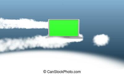 nuages, vidéo, ordinateur portable