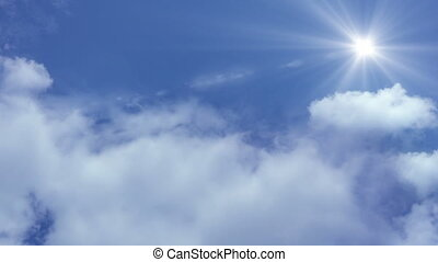 nuages, voler, nuages, appareil photo, par, mouvement