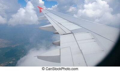 nuages, voler, par, enlumineur, aile avion, vue