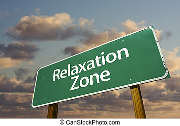 nuages, zone, signe, vert, relaxation, route
