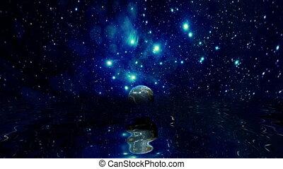nuageux, étoiles, lune, au-dessus, nuit, eau, entiers