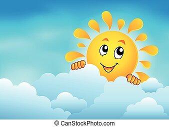 nuageux, 1, ciel, soleil, observer