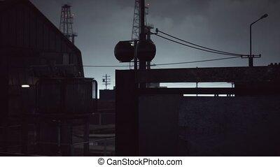 nuageux, sombre, industriel, zone, temps