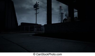 nuageux, zone, sombre, temps, industriel