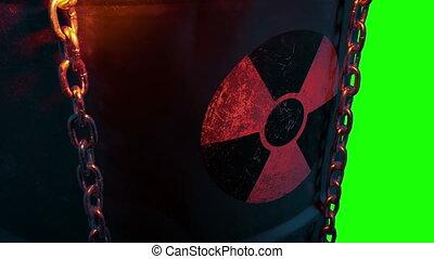 nucléaire, clignotant, baril, lumière, gaspillage, greenscreen, élément