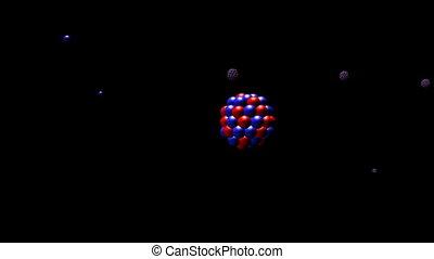 nucléaire, closeup., fission, hd, cg.