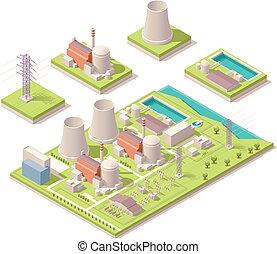 nucléaire, isométrique, puissance, facilité