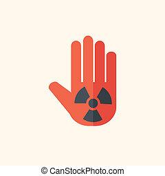 nucléaire, plat, icône