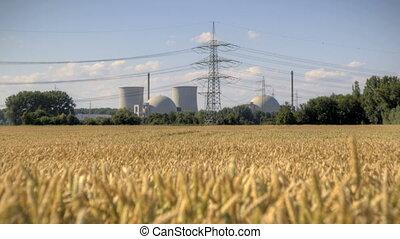 nucléaire, station, puissance
