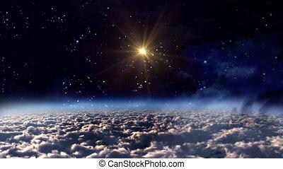 nuit, étoile, espace, jaune, lueur