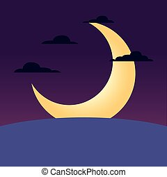 nuit, étoiles, paysage, lune