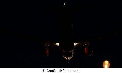 nuit, aéroport, avion, atterrissage, barcelone, commercial