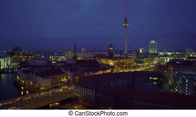 nuit, allemagne, vue aérienne, berlin