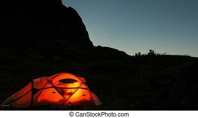 nuit, au-dessus, temps, tente, lune, défaillance, en mouvement