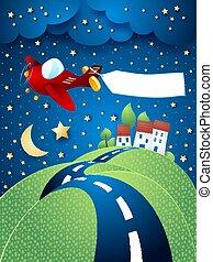 nuit, bannière, avion, road., vallonné, eps10, paysage, vecteur