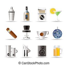nuit, boisson, barre, club, icônes