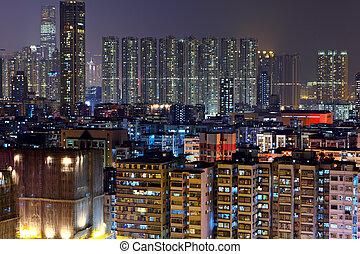 nuit, bondé, bâtiments, hong kong