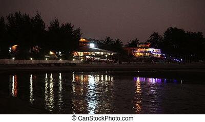 nuit, bord mer, cafe., village
