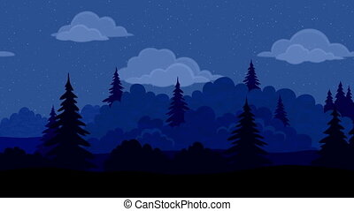 nuit, boucle, seamless, paysage, forêt