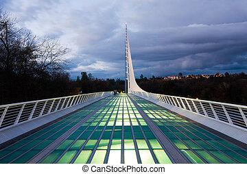 nuit, cadran solaire, pont