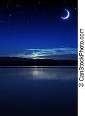nuit, calme, été