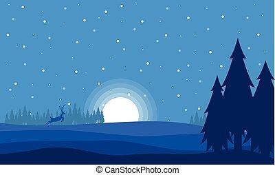nuit, cerf, noël, paysage, lune