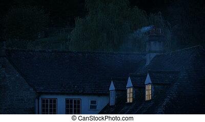 nuit, cheminée, bâtiment, fumer, campagne