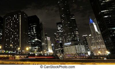 nuit, chicago, ville, hyperlapse, trafic, gratte-ciel, croisement