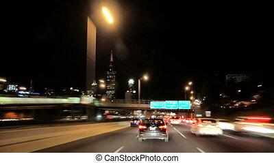 nuit, chicago, vitesse, en ville, défaillance temps, conduite, appareil photo, voiture, entiers
