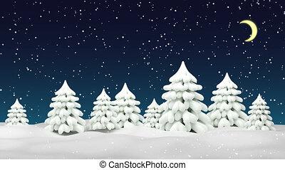 nuit, chute neige, noël, arrière-plan., forest., hiver