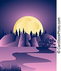 nuit, ciel pourpre, paysage, lune, sous, forêt