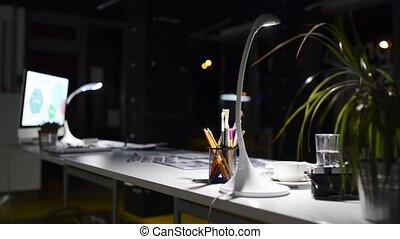 nuit, computer., bureau bureau