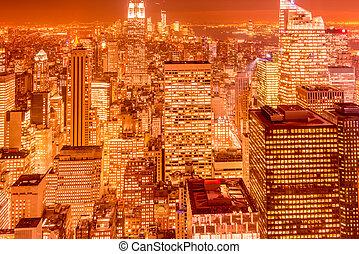 nuit, coucher soleil, york, nouveau, pendant, manhattan, vue