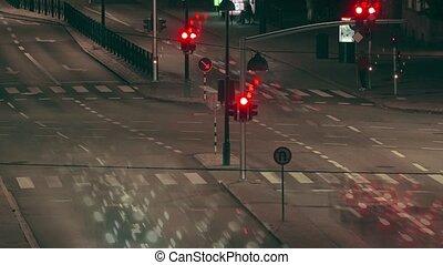 nuit, défaillance, rue, trafic, temps
