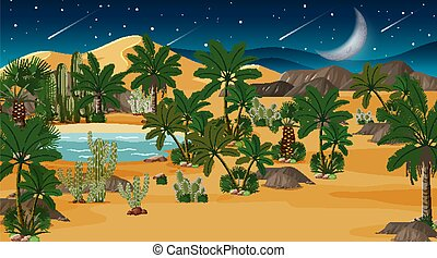 nuit, désert, forêt, paysage, scène, oasis