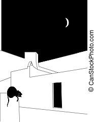 nuit, dormir, pendant, illustration, toit, chat
