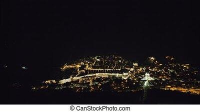 nuit, dubrovnik, vieille ville, panorama