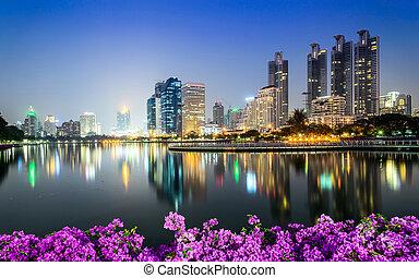 nuit, en ville, bangkok, ville, fleur, bougainvillea, premier plan